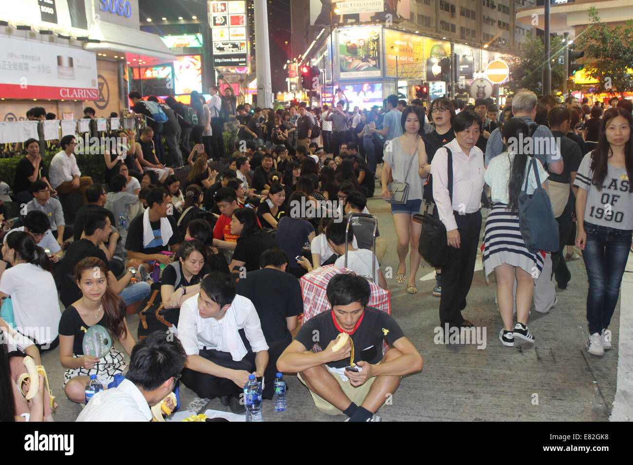 Hong Kong, 29 Sep, 2014. Hong Kong Protests: Outside Sogo Department Store on Hennessy Road in Causeway Bay. Pro - Stock Image