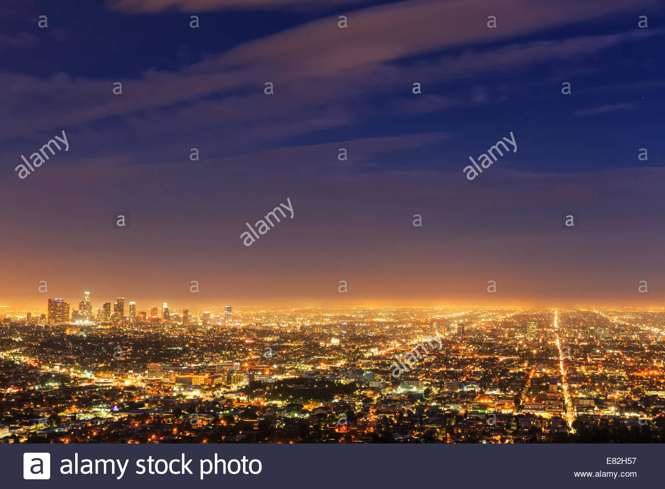 USA, California, Los Angeles, Cityscape, Blue hour - Stock Image