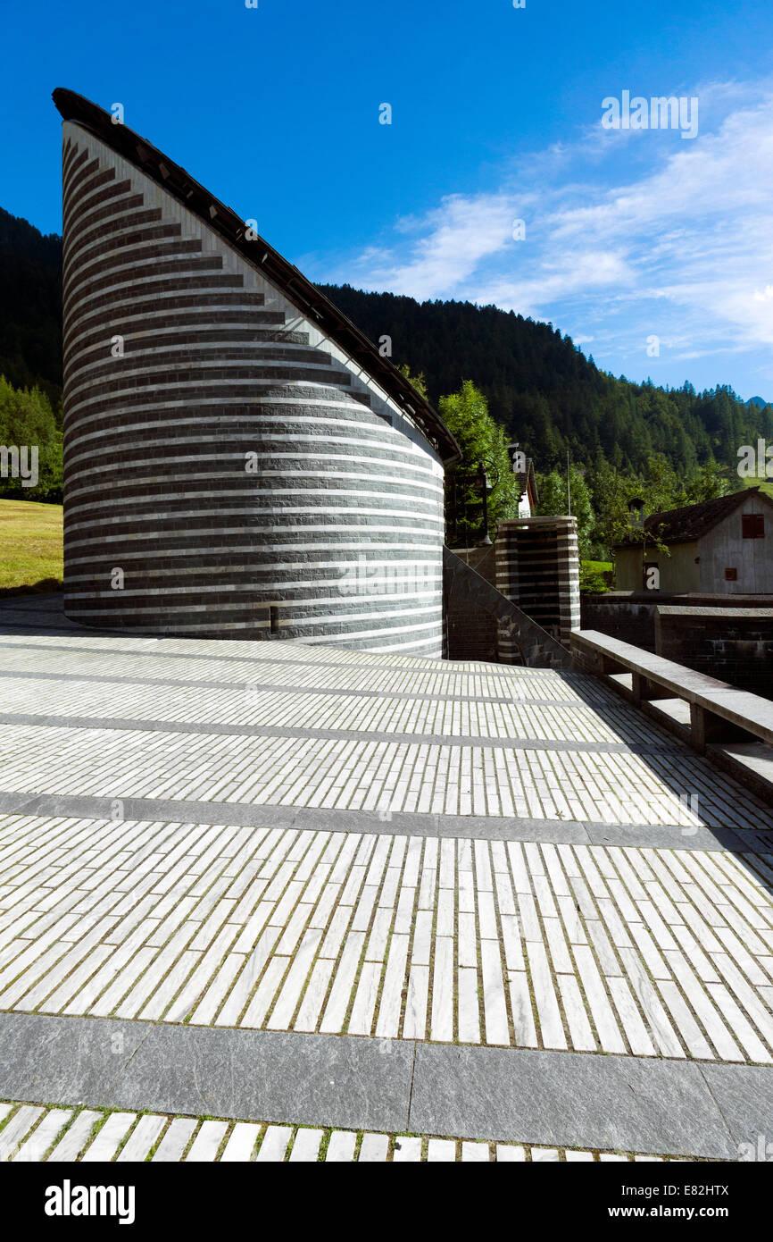 Switzerland, Ticino, Mogno, view to church of San Giovanni Battista Stock Photo