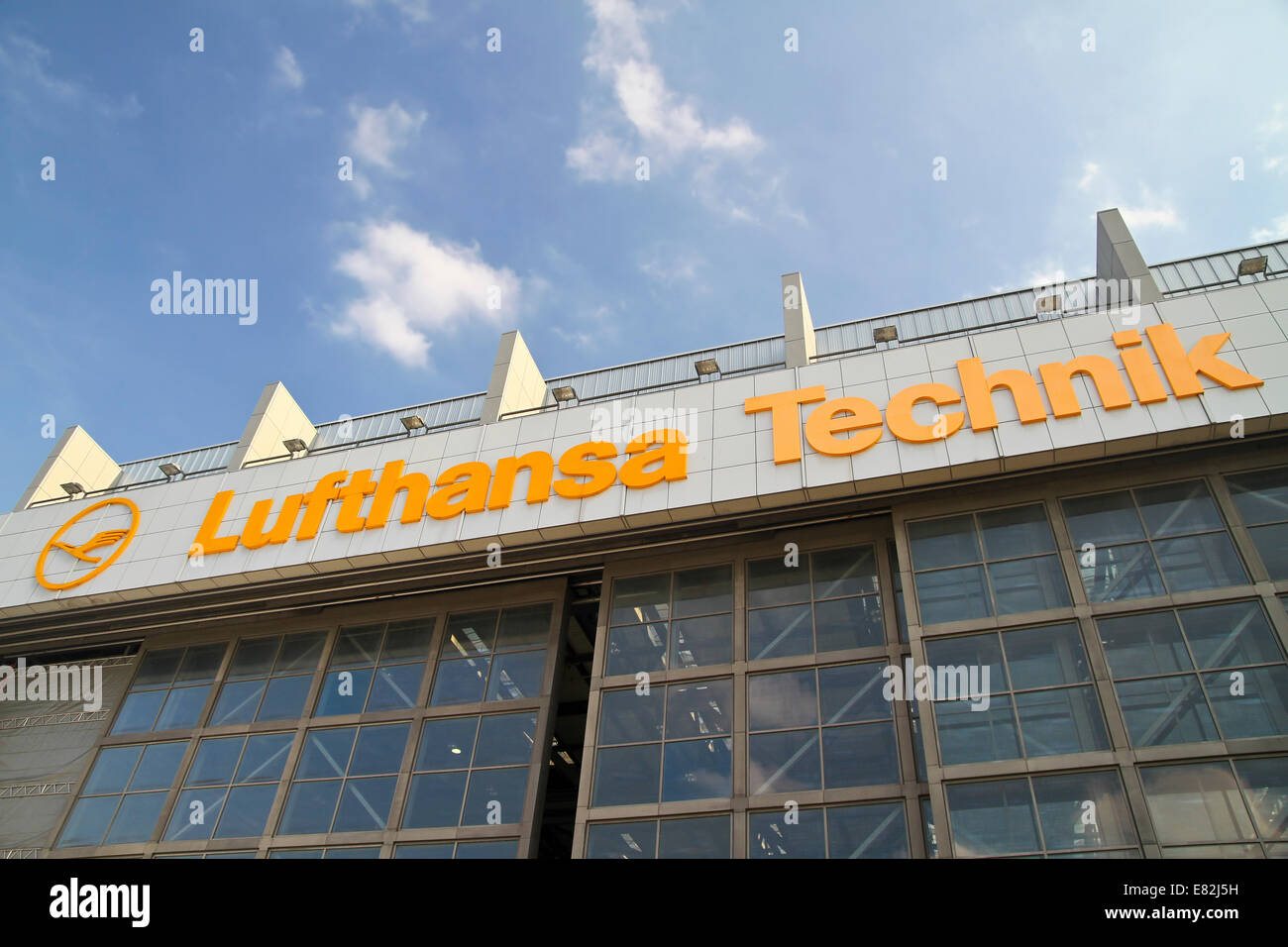 Germany, Hamburg, Lufthansa Technik Hangar at Hamburg Airport - Stock Image