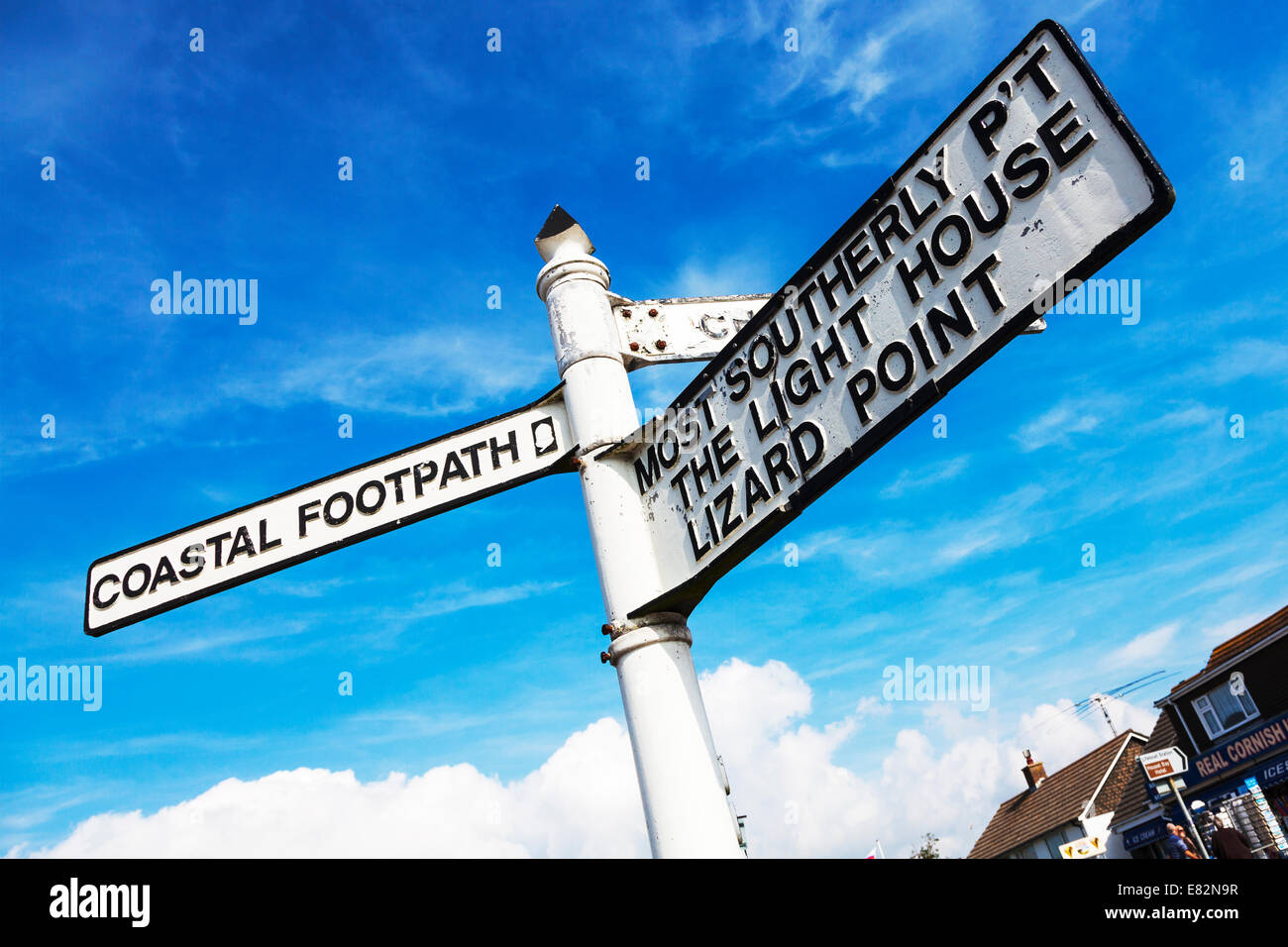 Lizard point road sign uk most southerly point Cornwall Cornish west country coastal footpath - Stock Image