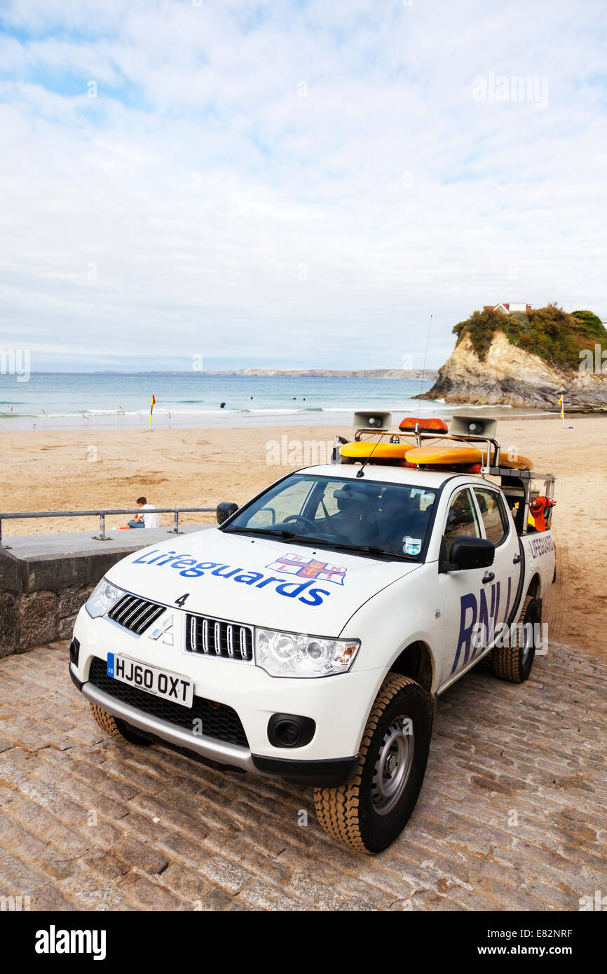 RNLI car vehicle on Towan beach Newquay Cornwall safety for surfers swimmers lifeguards transport - Stock Image