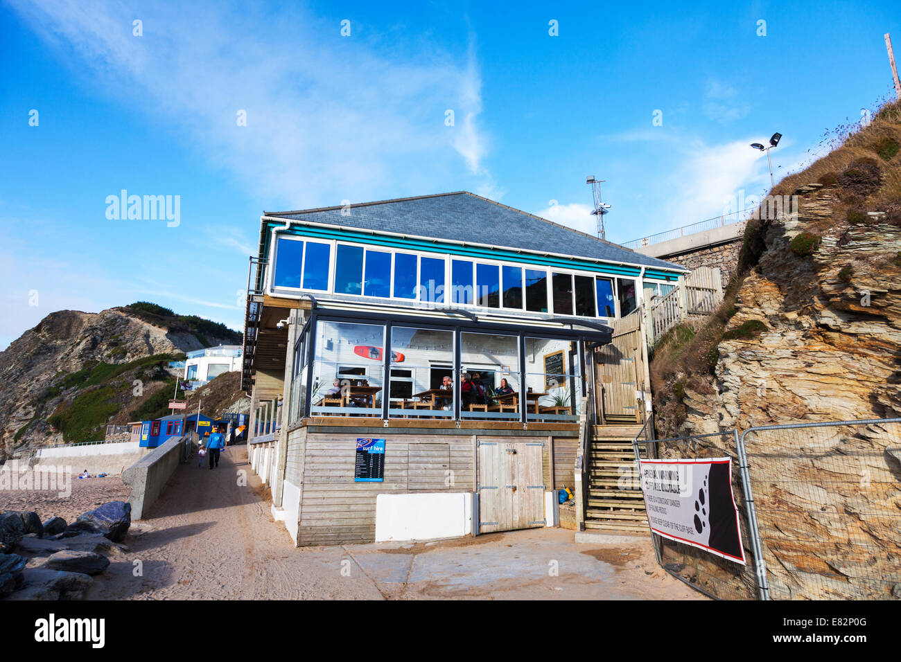 Fifteen Jamie Oliver's restaurant building exterior Watergate Bay beach front Cornwall Cornish west country - Stock Image