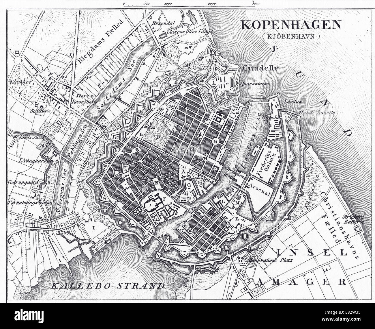 Engraved illustration of the Map of Copenhagen, Denmark from Iconographic Encyclopedia of Science, Literature and - Stock Image