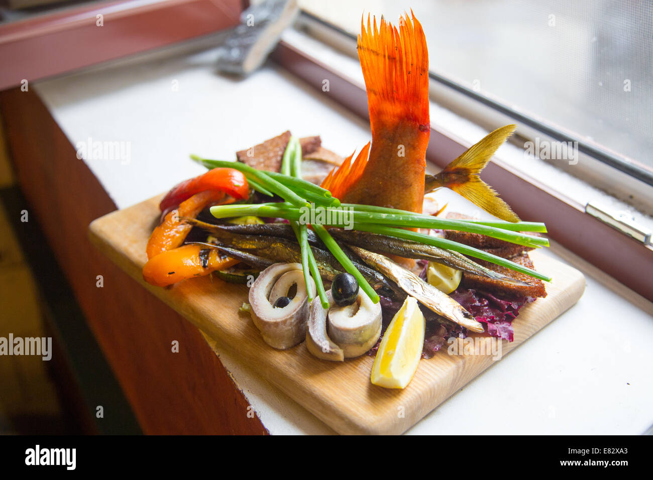 Assorted fish platter at Cafe 371 inside Central Market, Riga, Latvia - Stock Image