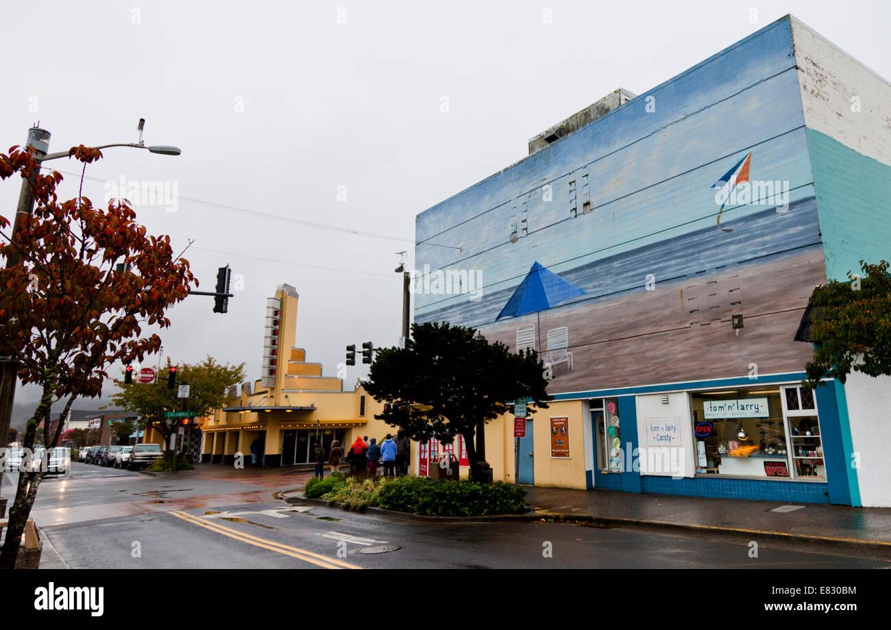 mural on a building on broadway street seaside oregon