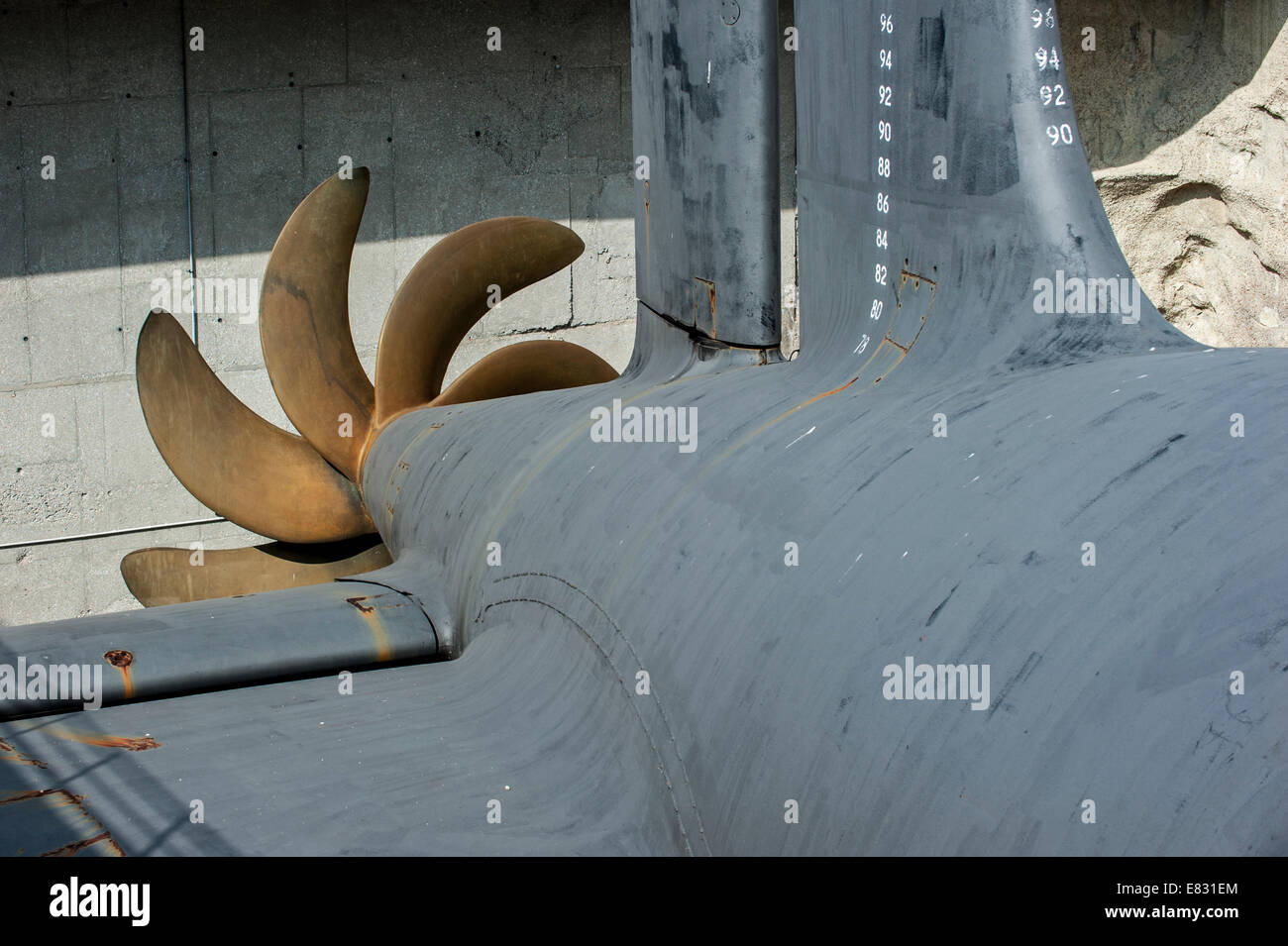 Propeller / screw of Redoutable, SSBN submarine of French Navy at Cité de la Mer, maritime museum, Cherbourg, - Stock Image