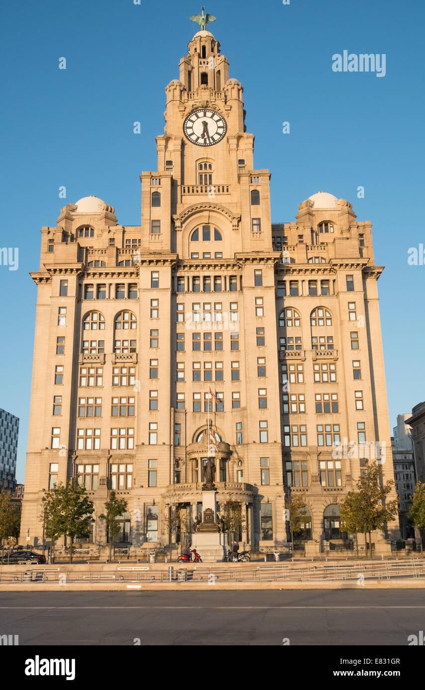 Royal Liver Grade 1 listed building, Pier Head, Liverpool, Merseyside, England, UK Stock Photo