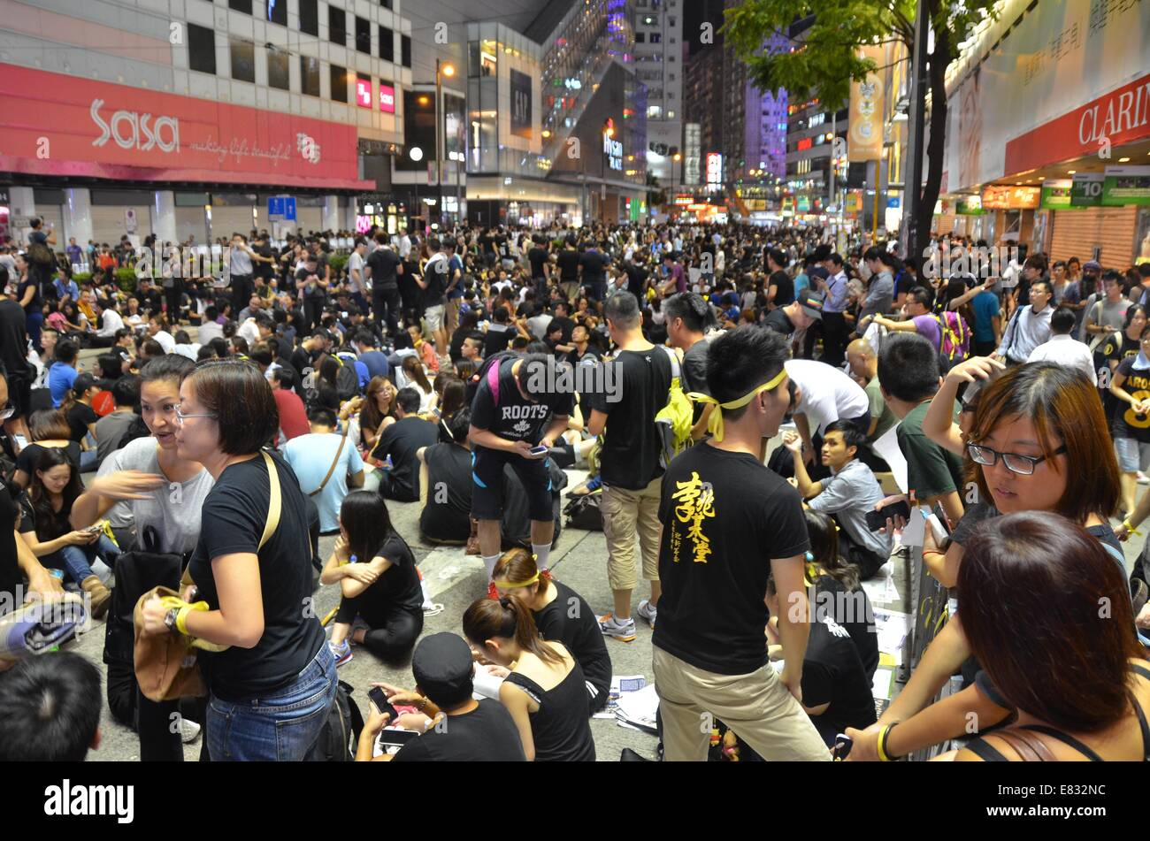 Hong Kong. 29th Sep, 2014. Hong Kong Protests: Thousands of young people wearing black T-shirts take part in the Stock Photo
