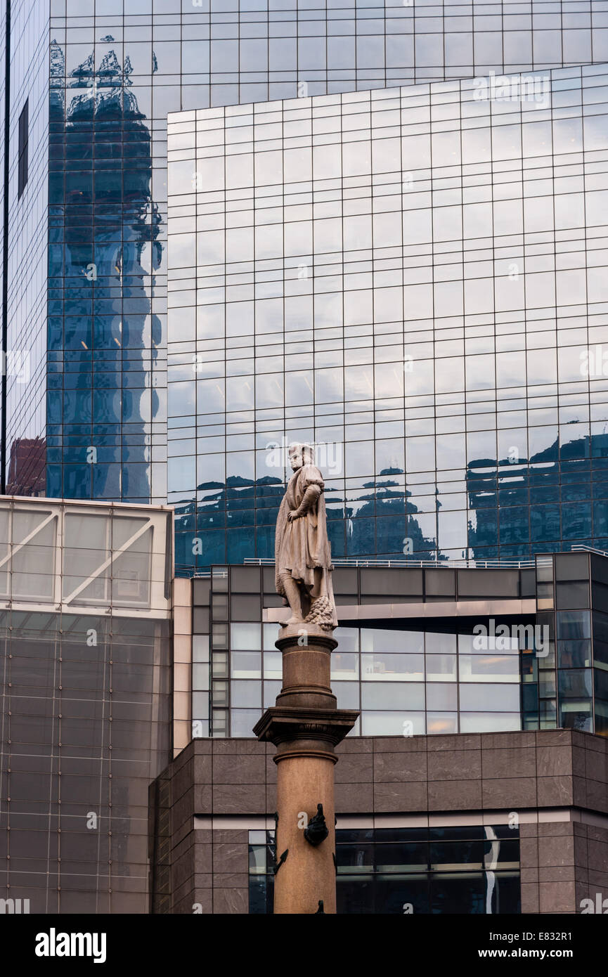 US, New York City. Columbus Circle. Statue of Christopher Columbus. Stock Photo