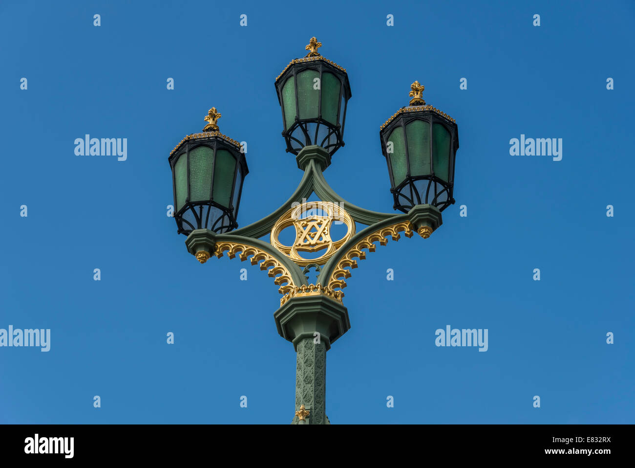 Ornate Victorian street lamps on Westminster Bridge in London Stock Photo