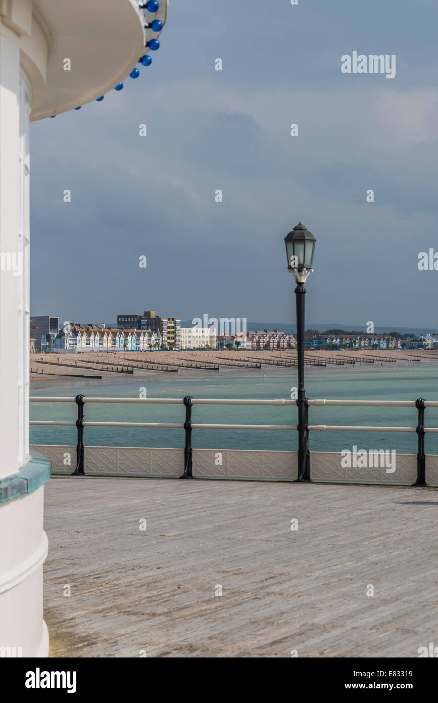 East Worthing beach and seafront from the end of the Art Deco pier Stock Photo