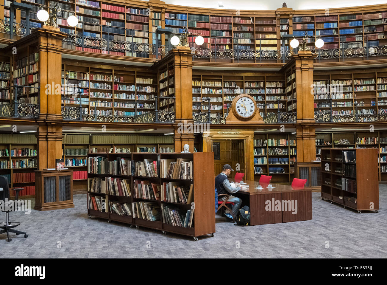 Liverpool Central Library interior, Picton Reading Room, William Brown Street, Liverpool, Merseyside, England UK Stock Photo
