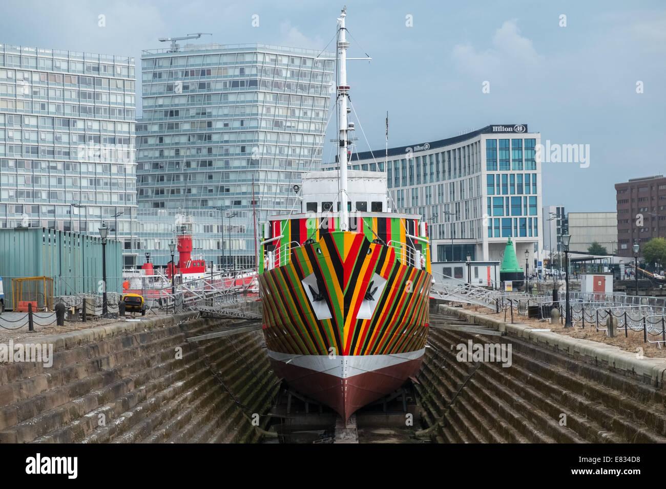 Liverpool Biennial 2014, artist Carlos Cruz-Diez created Dazzle Ship, Albert Dock, Liverpool, Merseyside, England - Stock Image