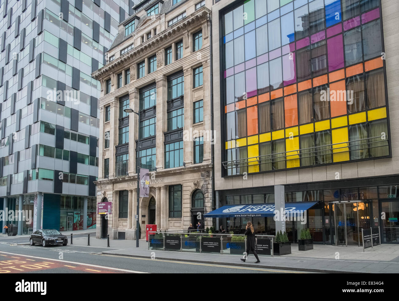 Examples of modern and traditional architecture, Chapel Street, Liverpool, Merseyside, England UK - Stock Image