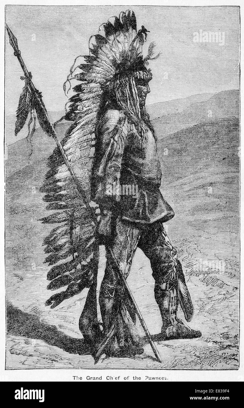 Grand Chief of the Pawnees circa 1885 - Stock Image