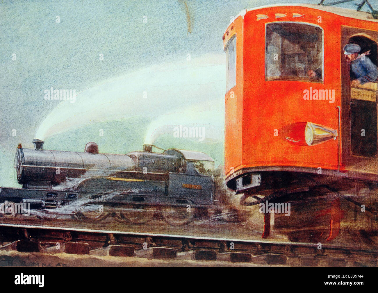 Steam versus electric traction flyer circa 1920 Stock Photo