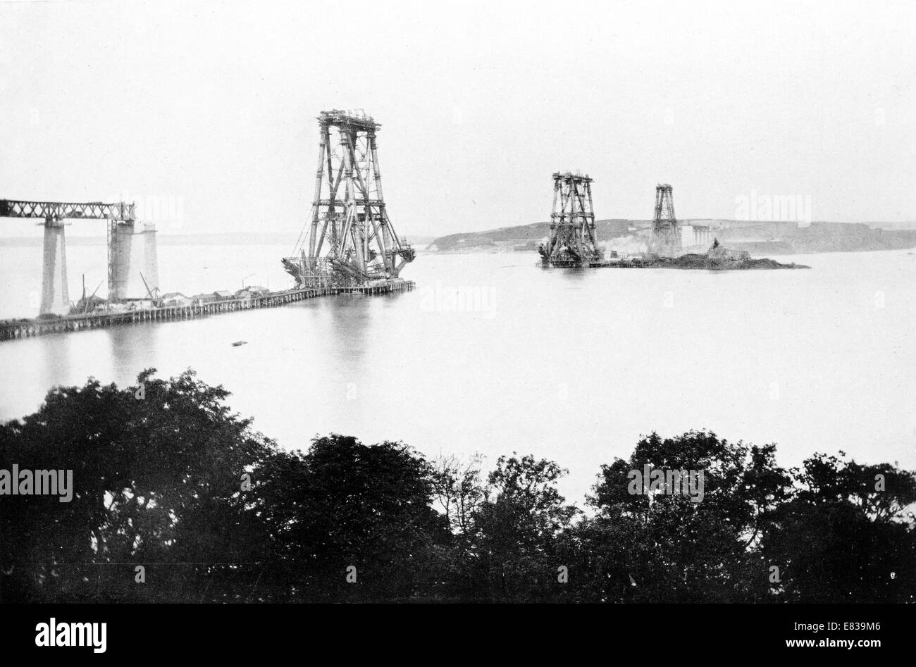 Forth Bridge main Piers August 1887 building construction Stock Photo