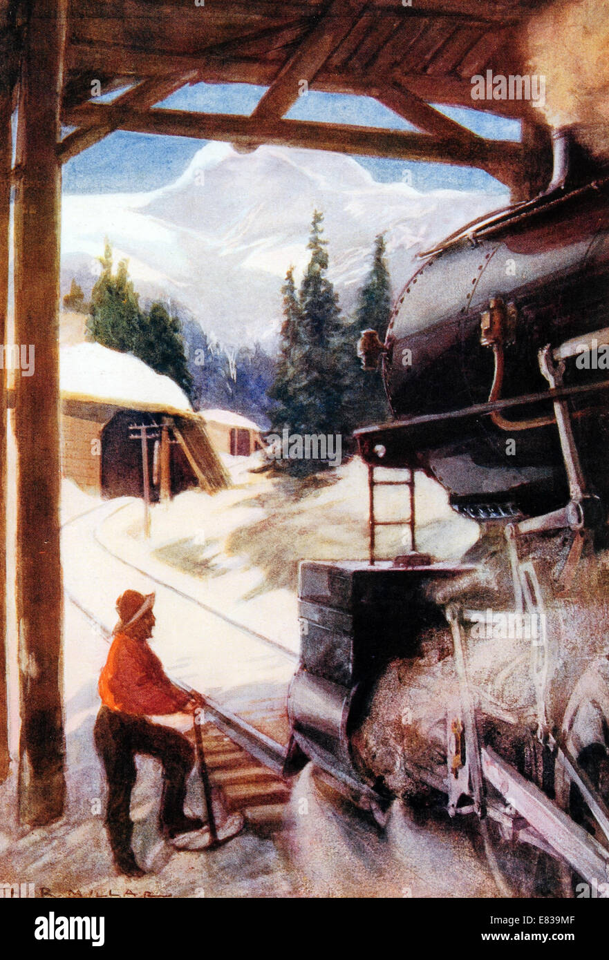 Conquest of the avalanche snow shed circa 1910 Stock Photo