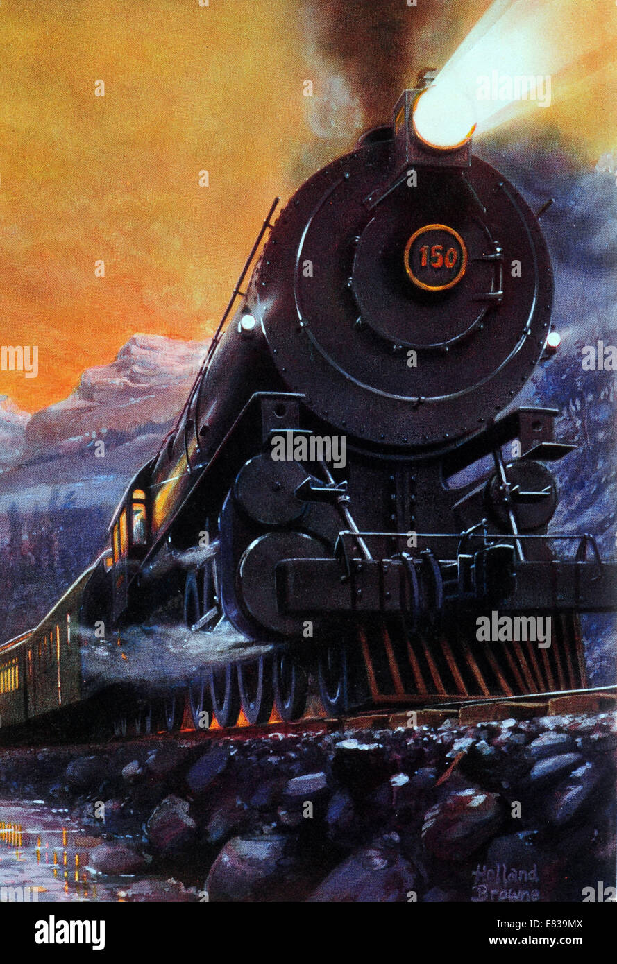 The Overland Limited circa 1910 Crack train of Union Central Pacific Railways thundering through the Rockies Stock Photo