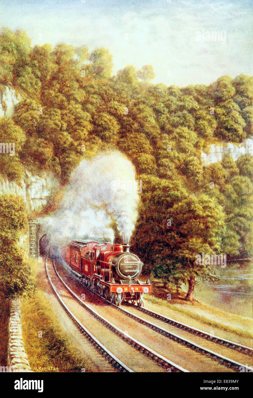 The Midland Scotch Express traversing the Picturesque County of the Dales Yorkshire UK circa 1920 Stock Photo