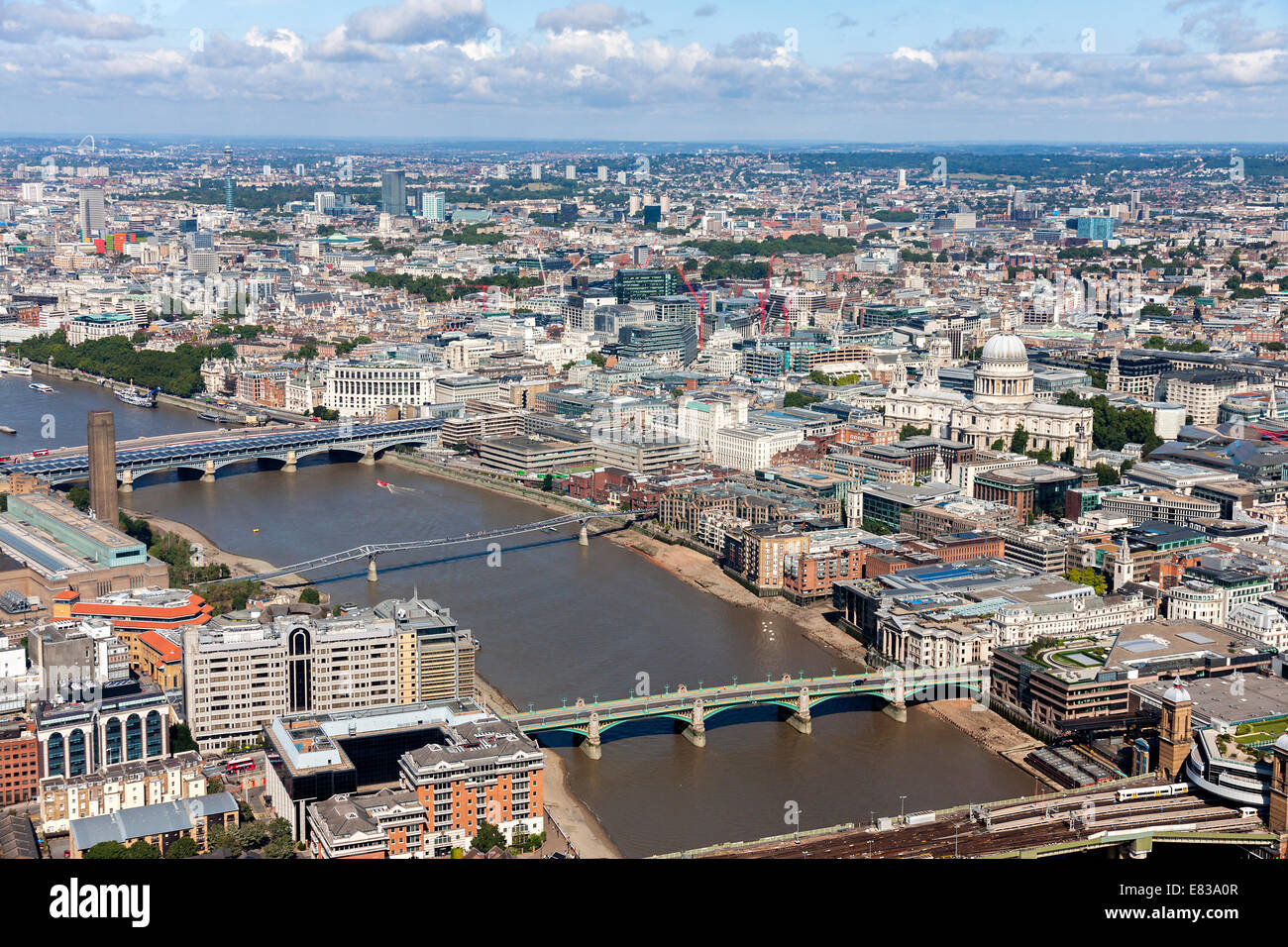 River Thames aerial view in London - Stock Image
