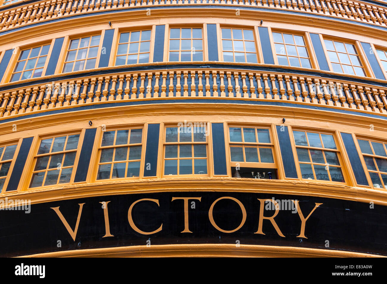HMS Victory, Nelson's flagship, in Portsmouth. Stock Photo