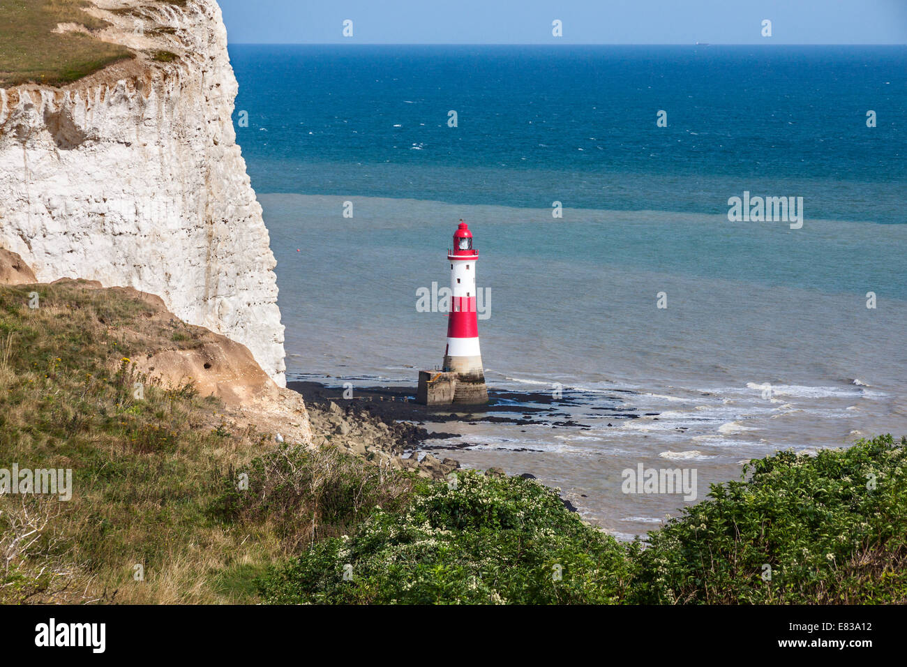 Beachy Head Lighthouse in the afternoon - Stock Image