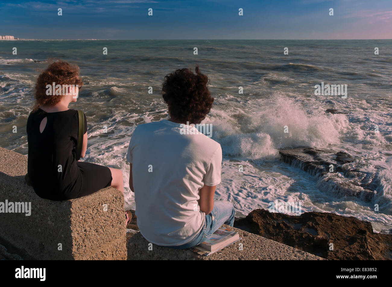Breakwaters and foam, Cadiz, Region of Andalusia, Spain, Europe - Stock Image