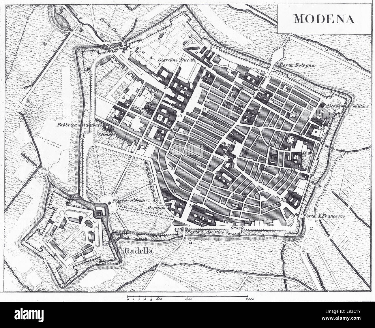 Engraved illustrations of the Map of Modena, Italy from Iconographic Encyclopedia of Science, Literature and Art, - Stock Image