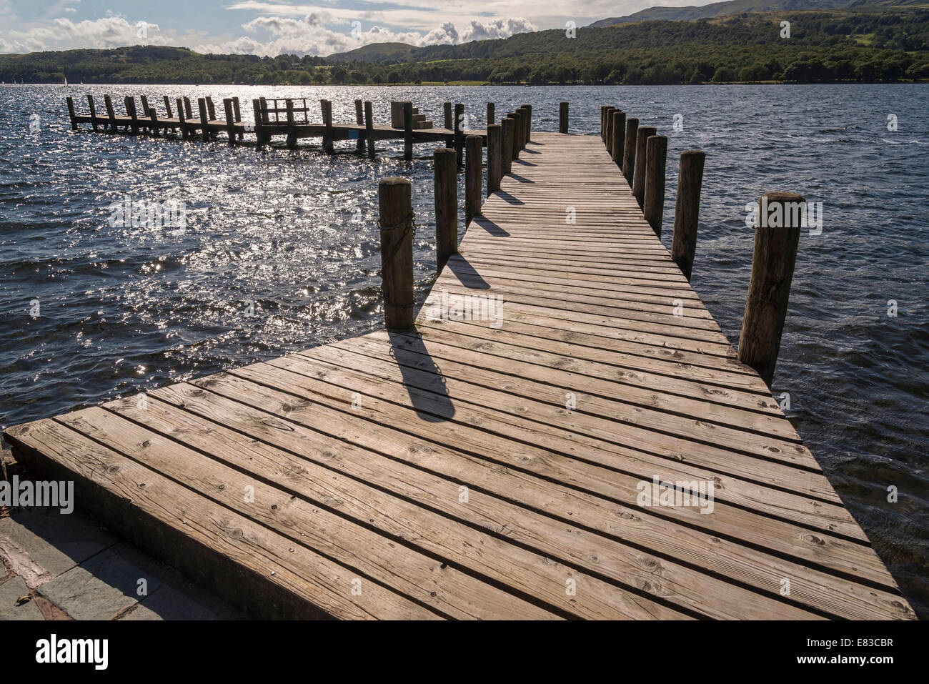The pier at John Ruskin house on lake Coniston Cumbria North West England. - Stock Image