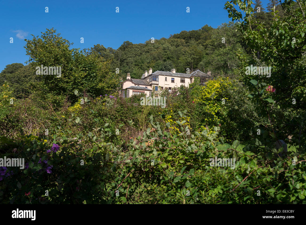John Ruskin house named Brantwood on lake Coniston Cumbria North West England. - Stock Image