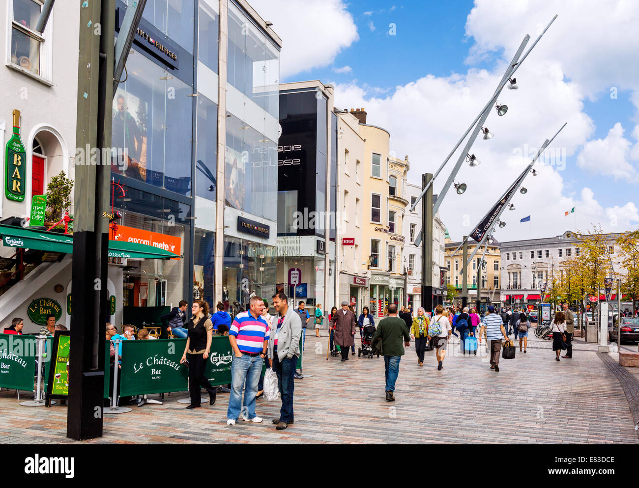Shops on St Patrick's Street in the city centre, Cork, County Cork, Republic of Ireland - Stock Image