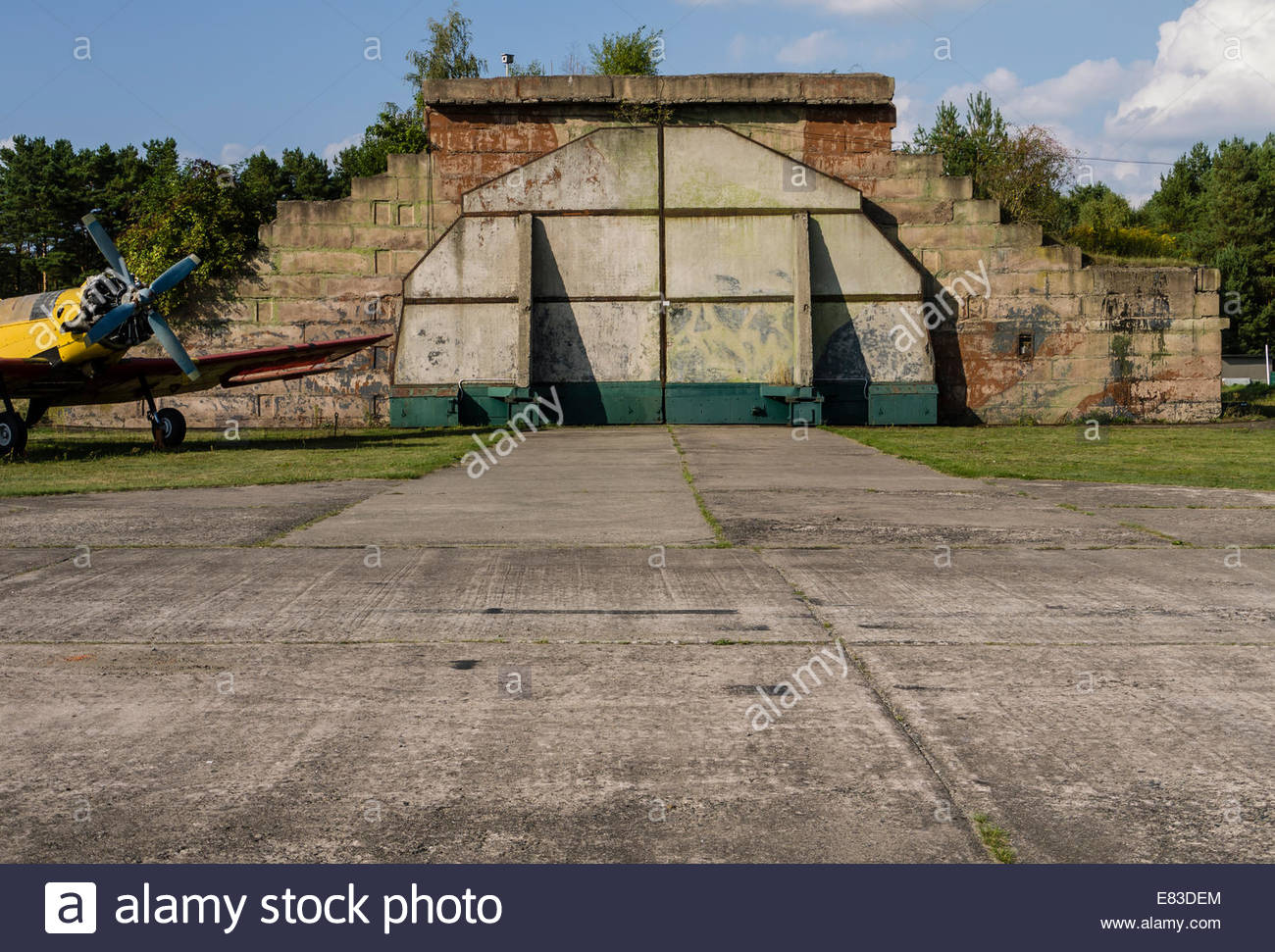 Old Soviet Airfield base at Finow  former DDR East Germany  Aircraft Hard Shelters left behind by Russians  Museum - Stock Image
