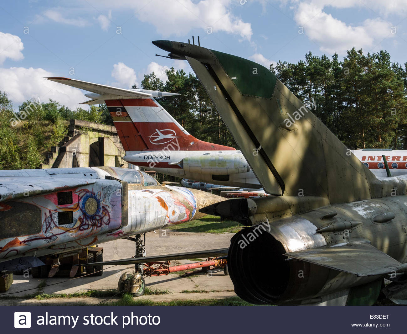 Old Soviet Airfield base at Finow  former DDR East Germany Aircraft remains left behind by Russians  Museum Cold - Stock Image