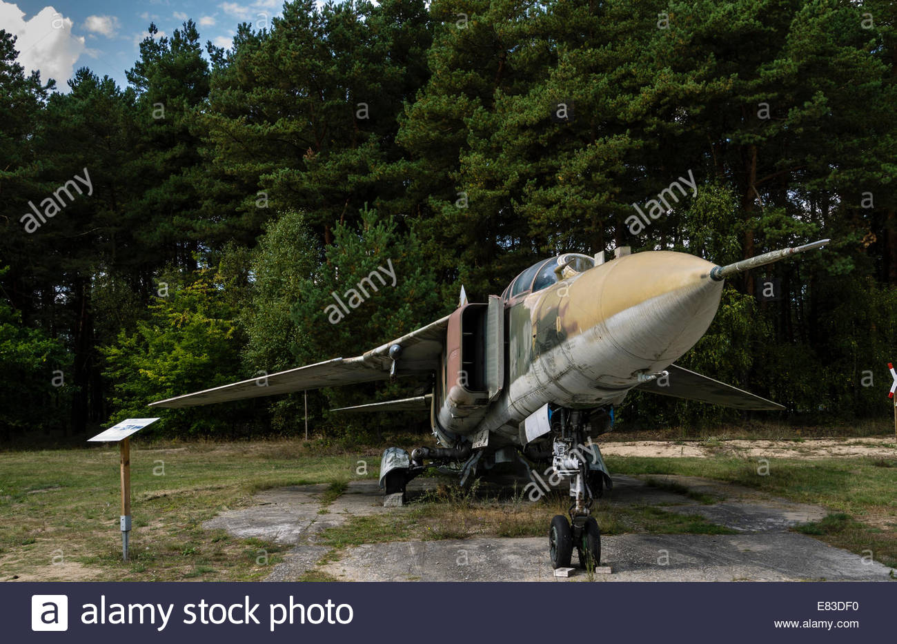 Old Soviet Airfield base at Finow  former DDR East Germany Mig 23  Museum - Stock Image