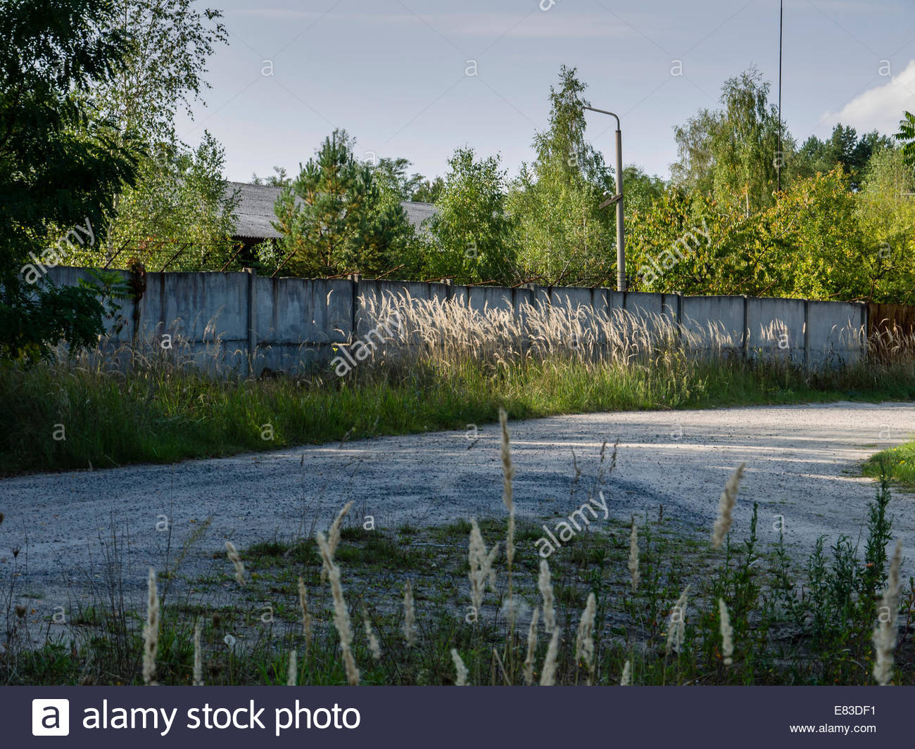 Old Soviet Airfield Finow  former DDR East Germany  Barracks Wall security fence left behind by Russians  Cold War, - Stock Image