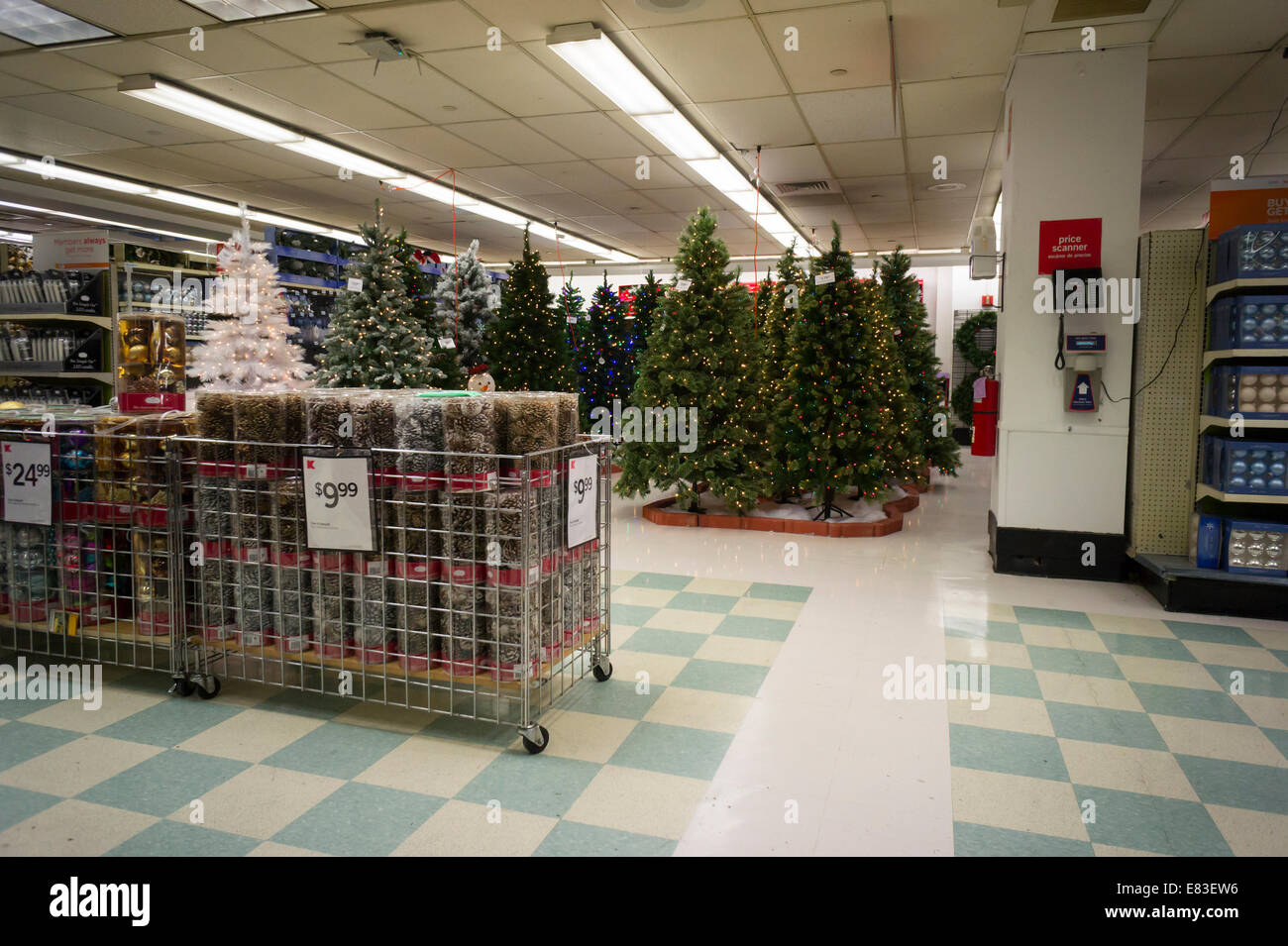 Seasonal Christmas display in a KMart store in New York Stock Photo ...