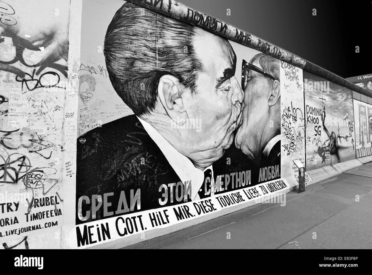 Germany berlin black and white version of the famous wall motive the brothers kiss at east side gallery