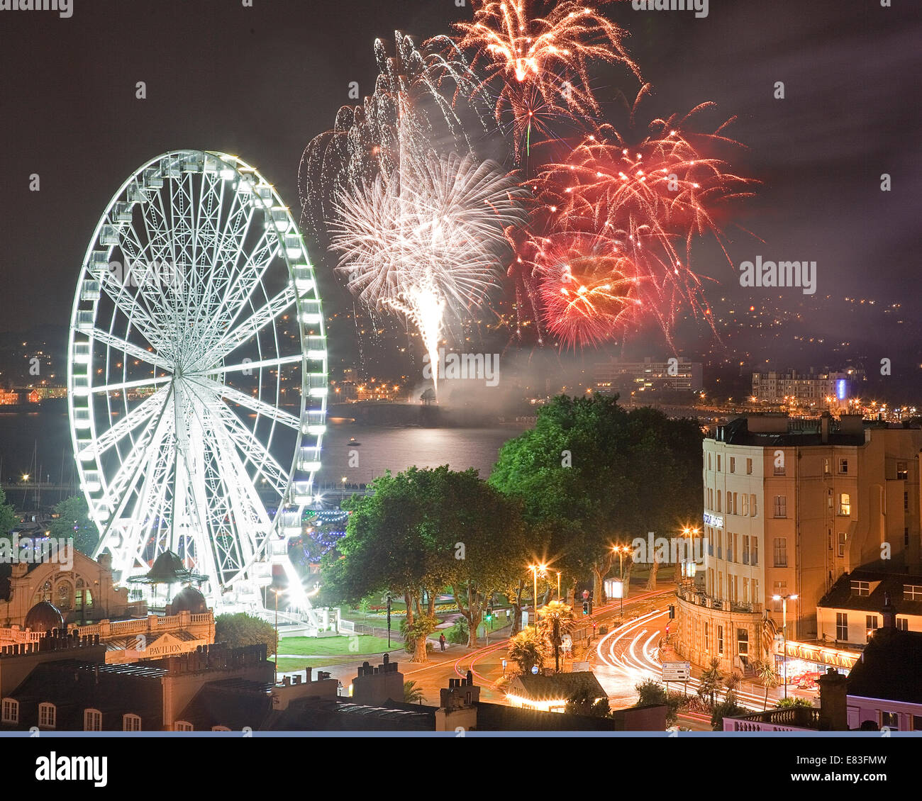 GB - DEVON: Fireworks over Torquay Stock Photo