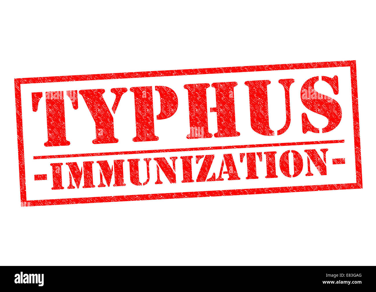 TYPHUS IMMUNIZATION red Rubber Stamp over a white background. Stock Photo