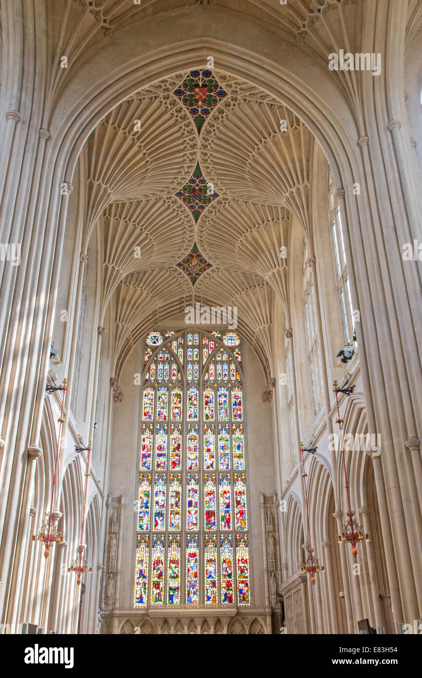 Fan vaulting over the nave at Bath Abbey, Bath, Somerset, England, UK - Stock Image