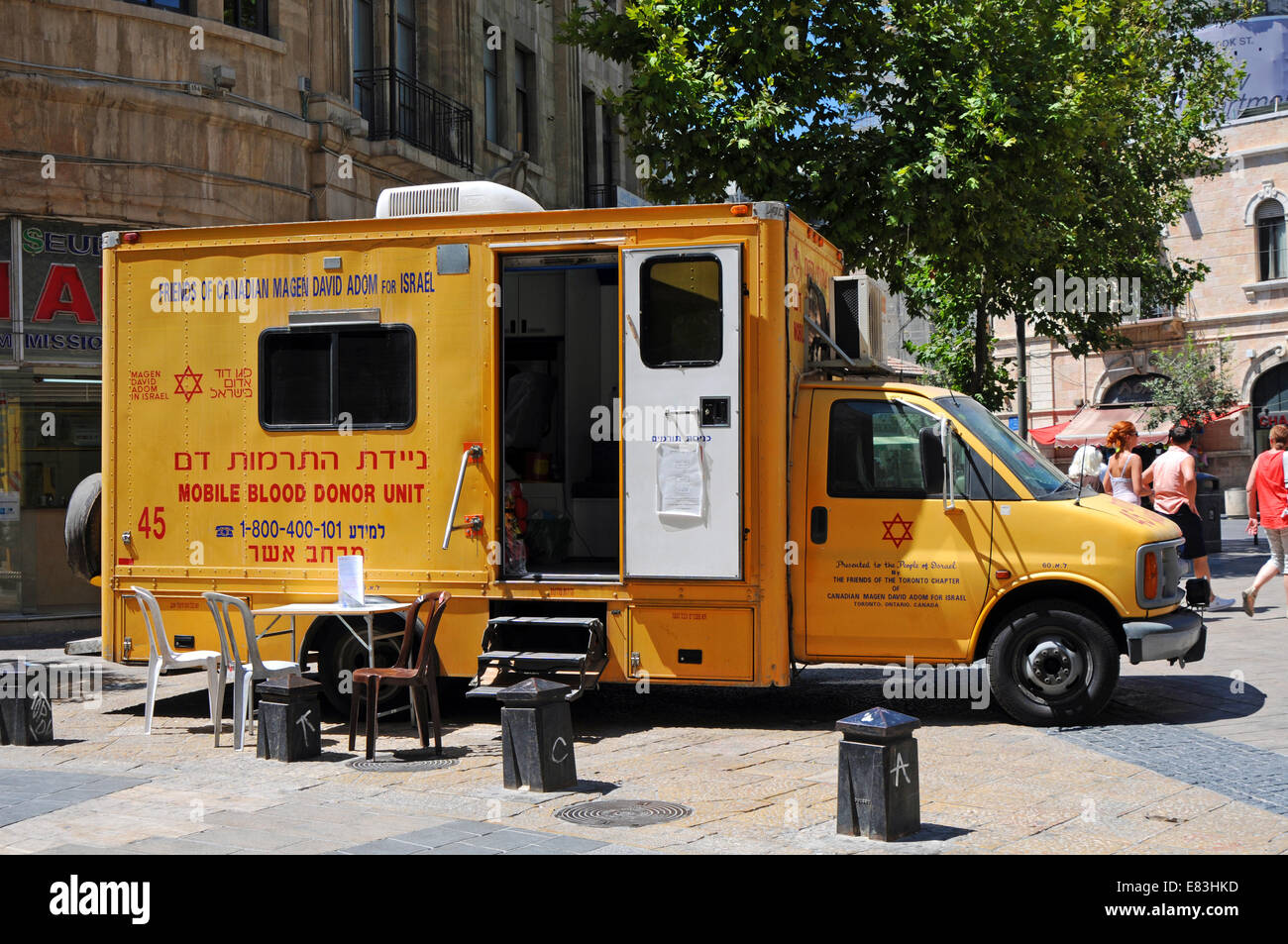 Mobile blood donor unit, Israel - Stock Image