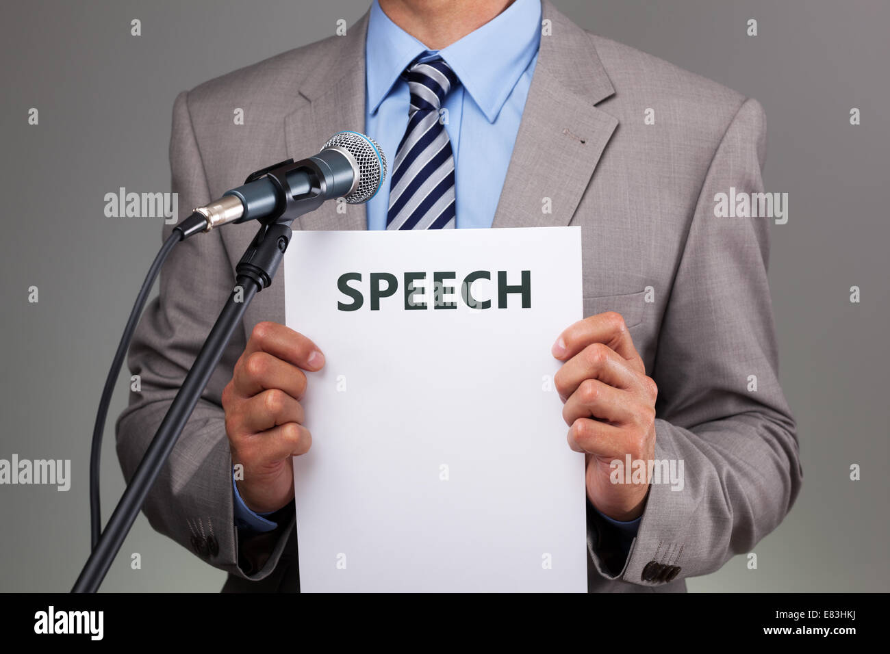 Speech with microphone - Stock Image