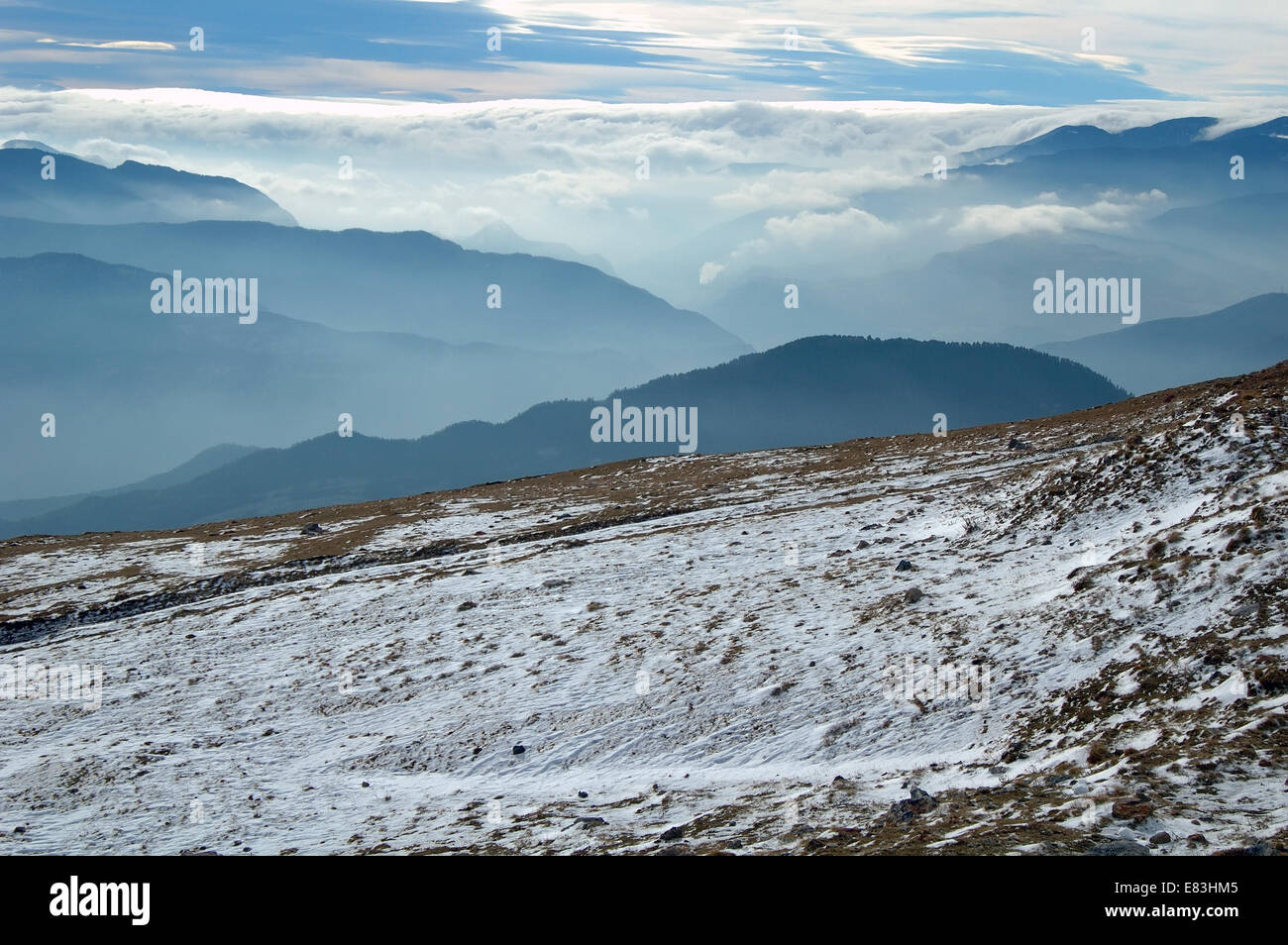 Pyrenees mountains First autumn snow, Spain Stock Photo