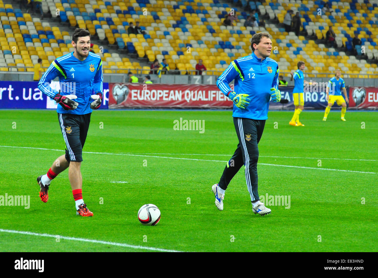 Goalkeepers during the match between Ukraine and Slovakia. Qualifying round - Group C, Euro-2016 - Stock Image