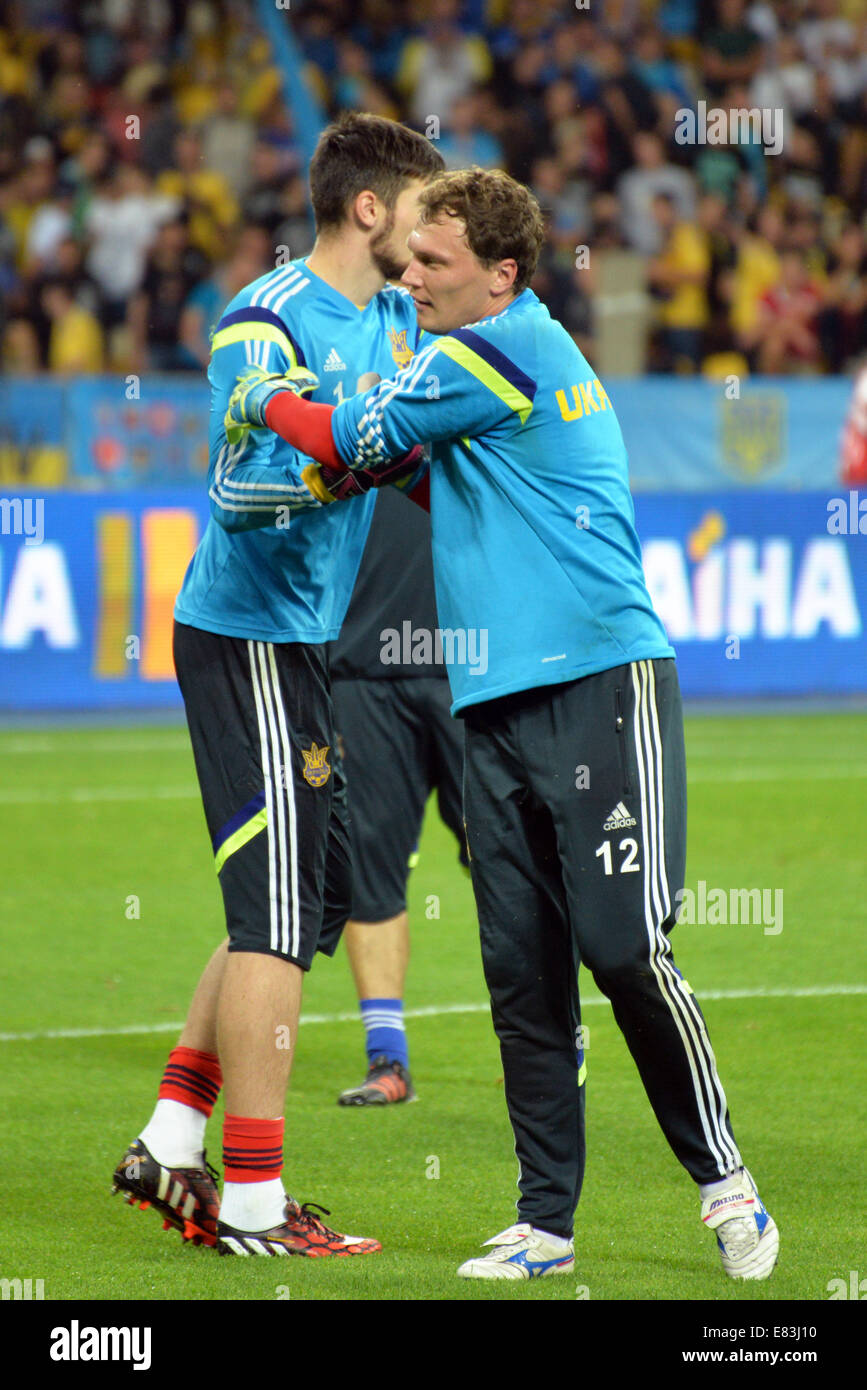 Ukrainian goalkeepers during the match between Ukraine and Slovakia. Qualifying round - Group C, Euro-2016 - Stock Image