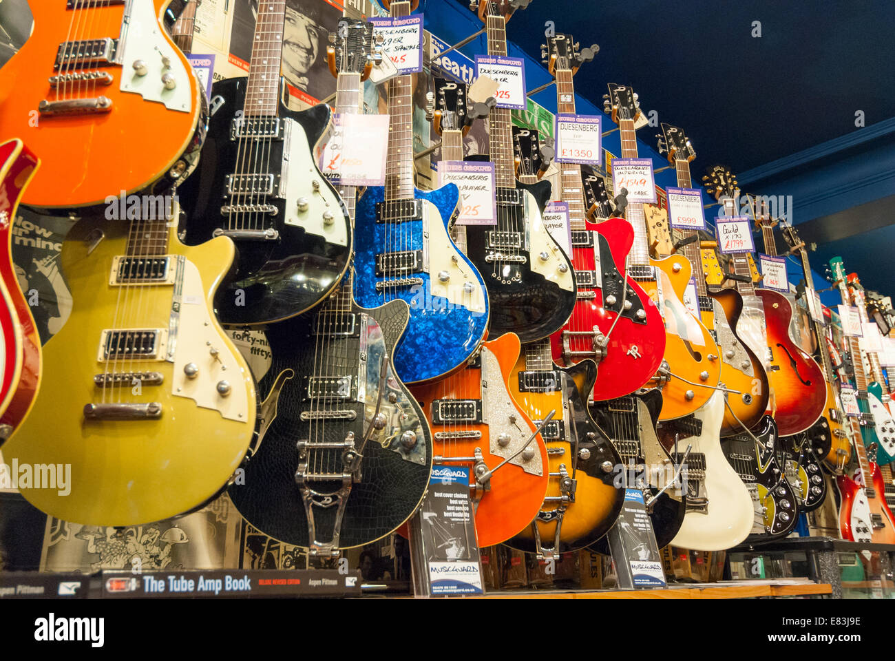electric guitars in andy 39 s guitar shop in denmark street london stock photo 73838954 alamy. Black Bedroom Furniture Sets. Home Design Ideas