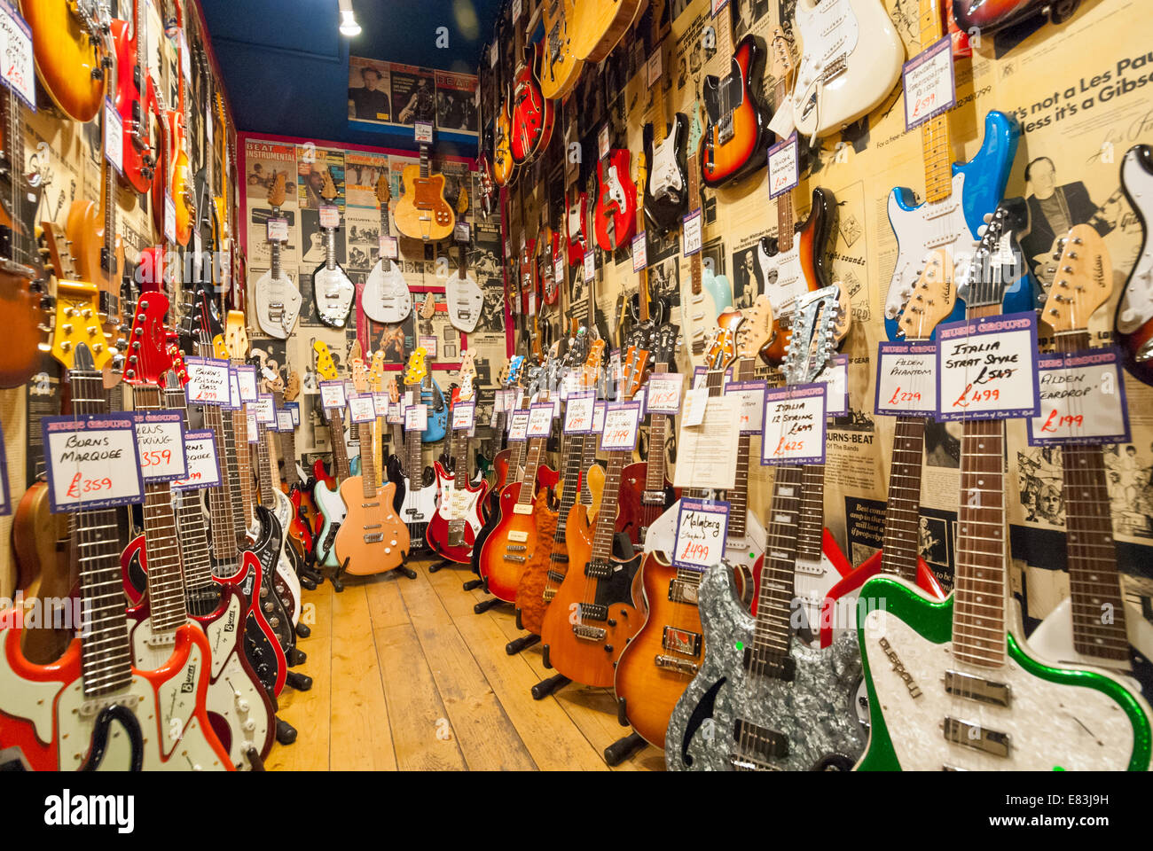 electric guitars in andy 39 s guitar shop in denmark street london stock photo 73838957 alamy. Black Bedroom Furniture Sets. Home Design Ideas