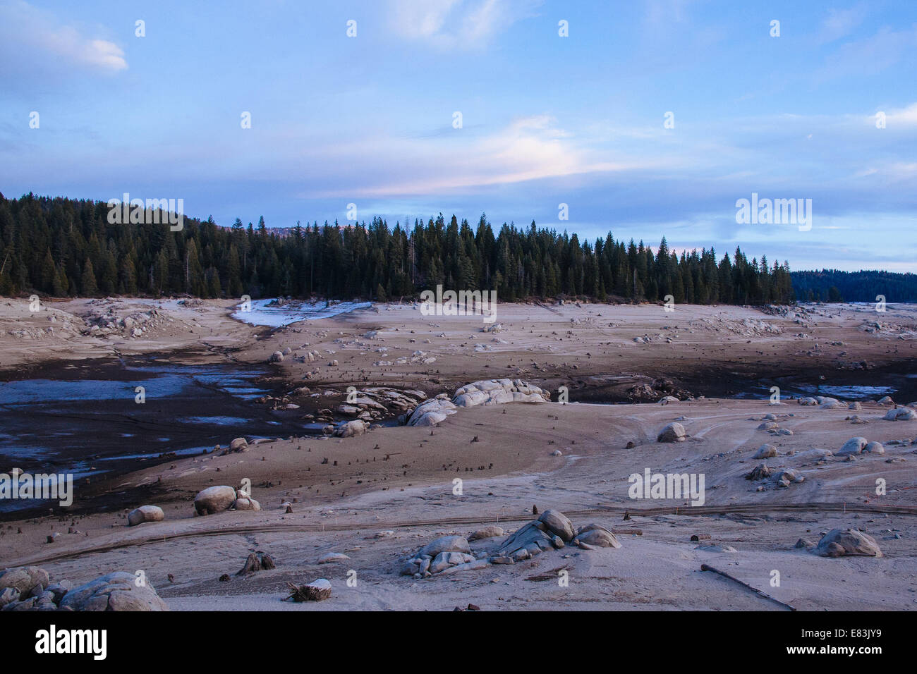 Drained Reservoir in Sierra Nevada, California - Stock Image